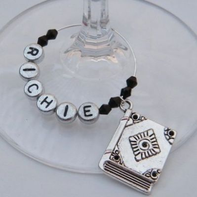 Large Book Personalised Wine Glass Charm